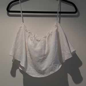 White linen tube top